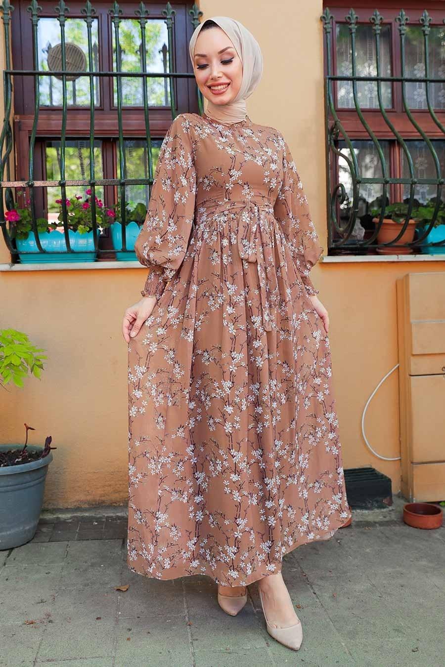 Neva Style - Çiçek Desenli Kahverengi Tesettür Elbise 1474KH