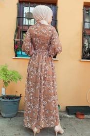 Neva Style - Çiçek Desenli Kahverengi Tesettür Elbise 1474KH - Thumbnail