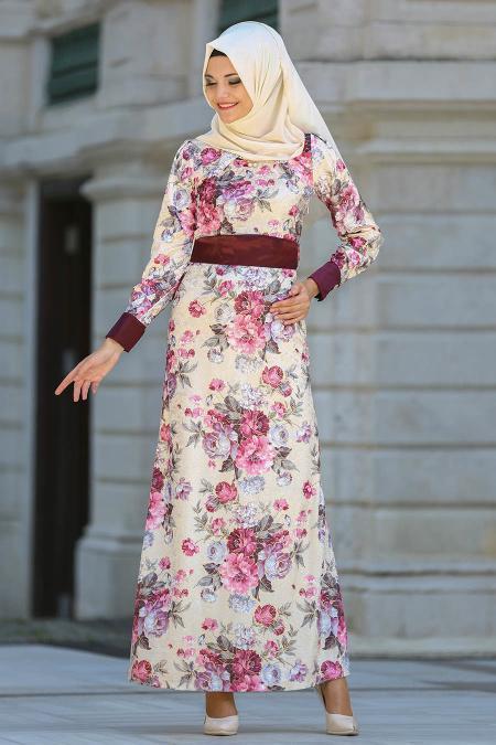 Neva Style - Çiçek Desenli Pembe Kadife Tesettür Elbise 2088P