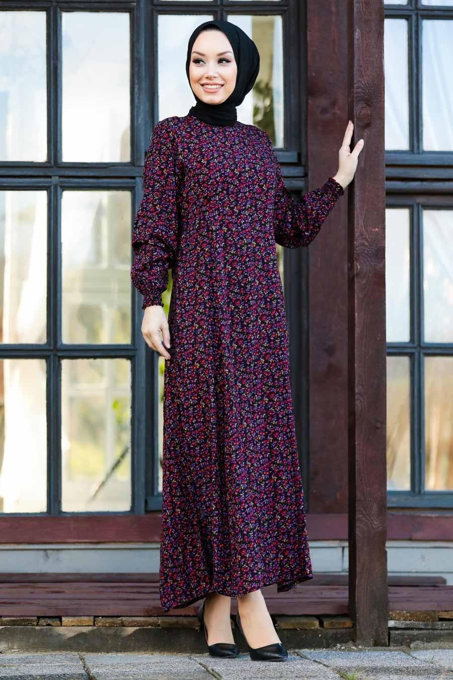 Neva Style - Çiçek Desenli Siyah Tesettür Elbise 27612S