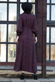 Neva Style - Çiçek Desenli Siyah Tesettür Elbise 27612S - Thumbnail