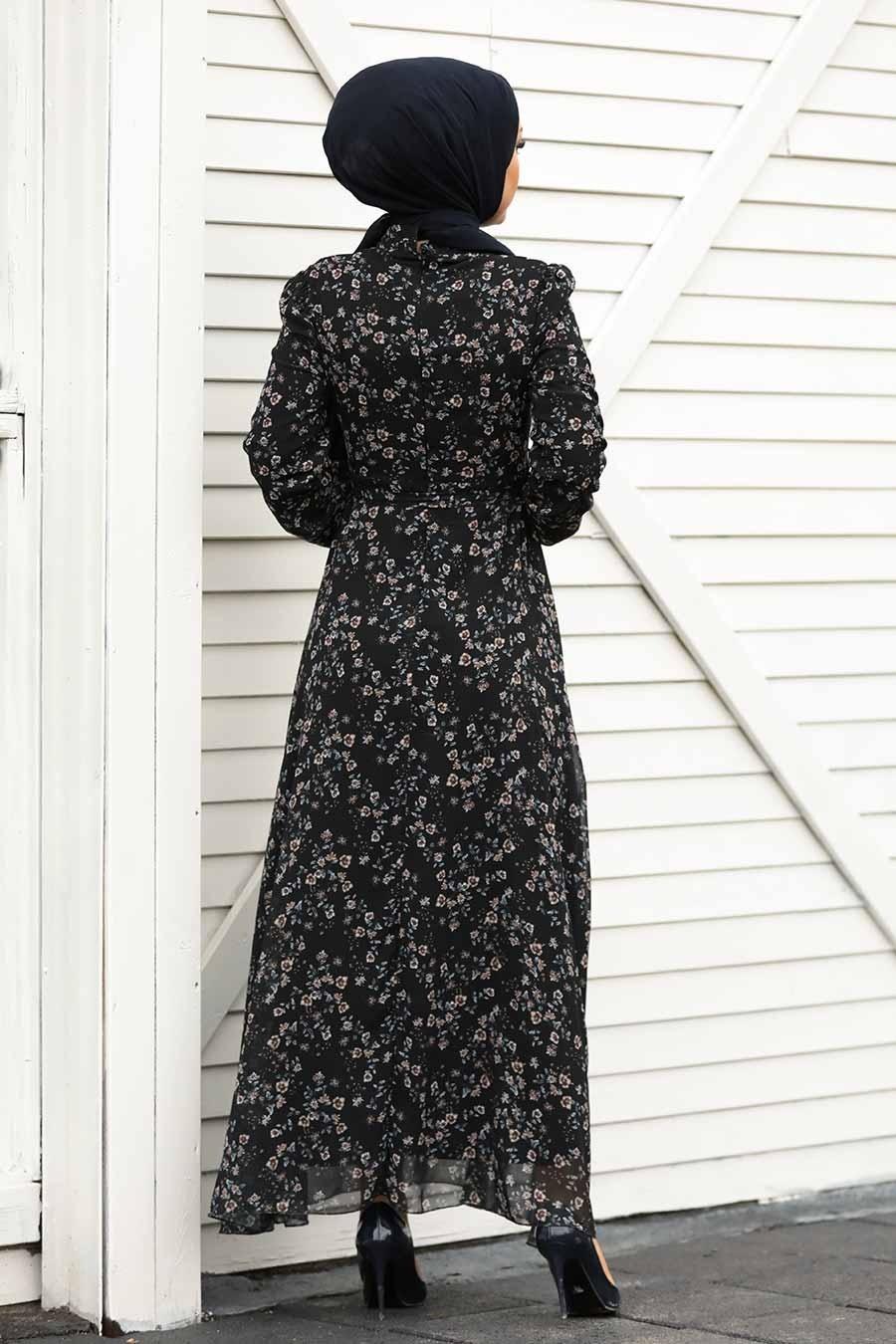 Neva Style - Çiçek Desenli Siyah Tesettür Elbise 27902S