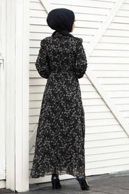 Neva Style - Çiçek Desenli Siyah Tesettür Elbise 27902S - Thumbnail