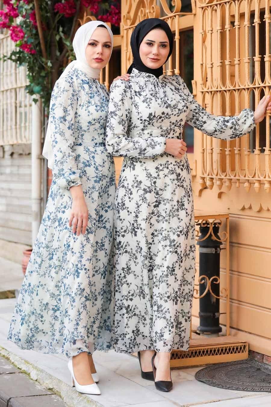 Neva Style - Çiçek Desenli Siyah Tesettür Elbise 28902S