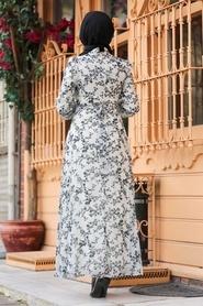 Neva Style - Çiçek Desenli Siyah Tesettür Elbise 28902S - Thumbnail