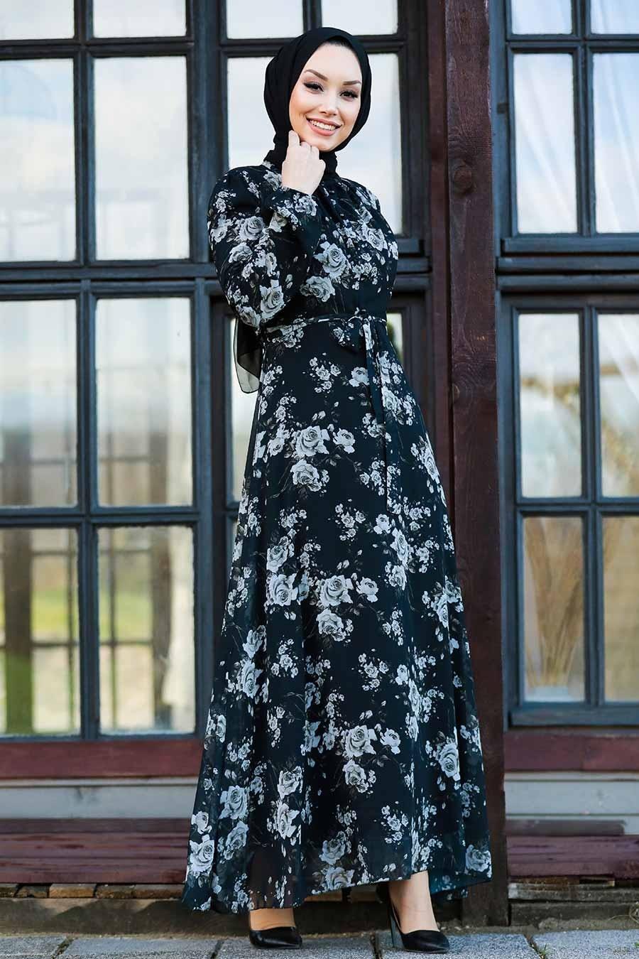 Neva Style - Çiçek Desenli Siyah Tesettür Elbise 81390S
