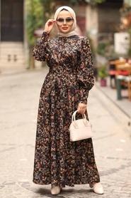 Neva Style - Çiçek Desenli Taba Tesettür Elbise 44671TB - Thumbnail