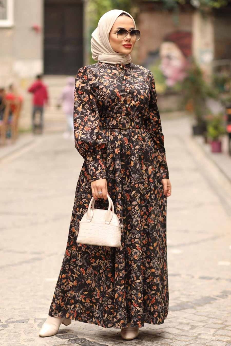 Neva Style - Çiçek Desenli Taba Tesettür Elbise 44671TB