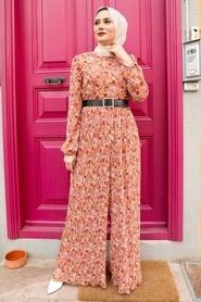 Neva Style - Çiçek Desenli Turuncu Tesettür Tulum 28960T - Thumbnail