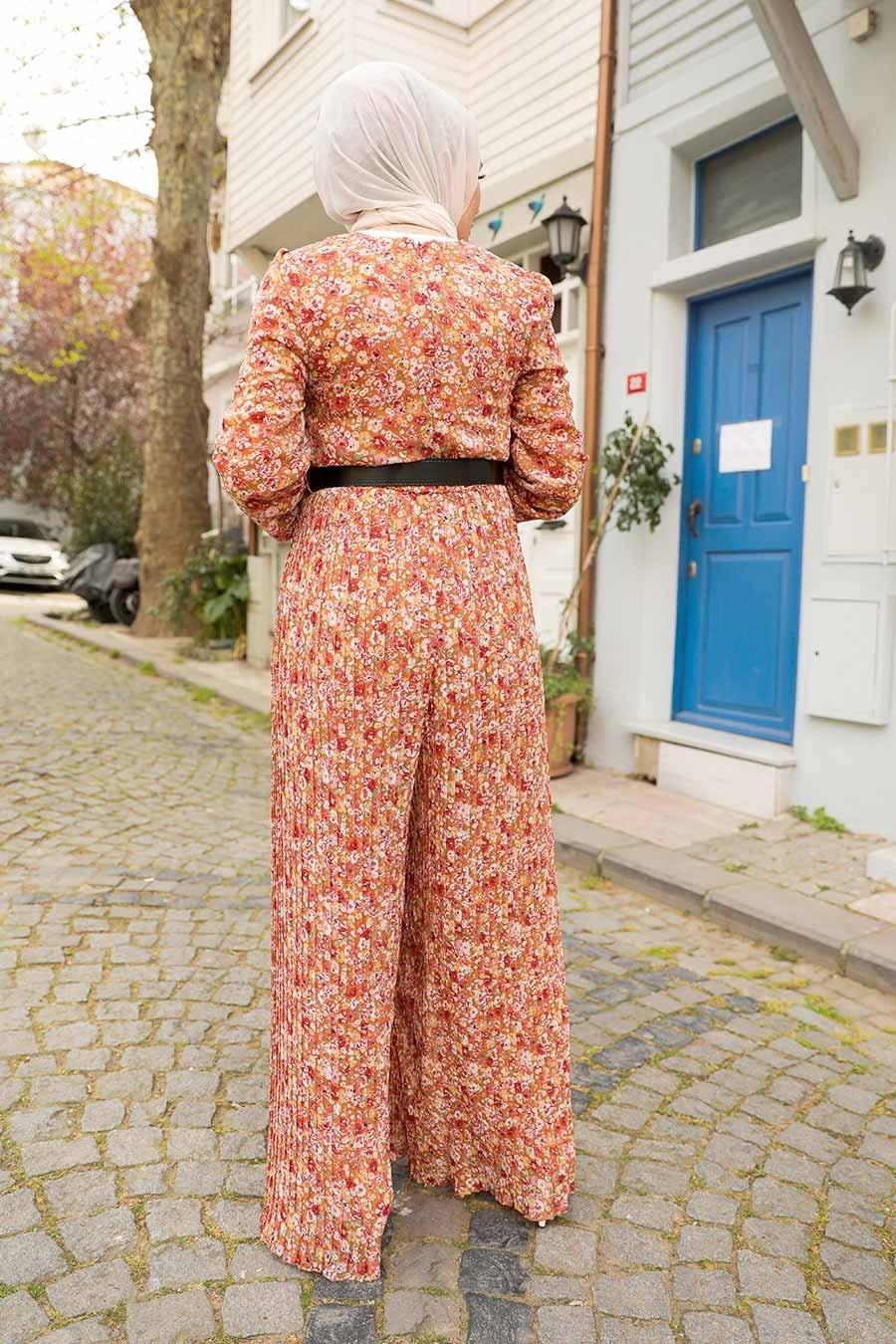 Neva Style - Çiçek Desenli Turuncu Tesettür Tulum 28960T