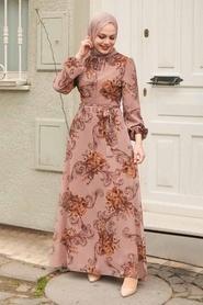 Neva Style - Çiçek Desenli Vizon Tesettür Elbise 27921V - Thumbnail