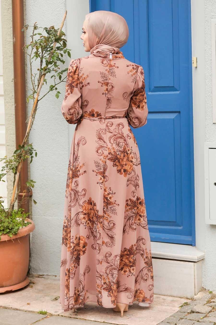 Neva Style - Çiçek Desenli Vizon Tesettür Elbise 27921V