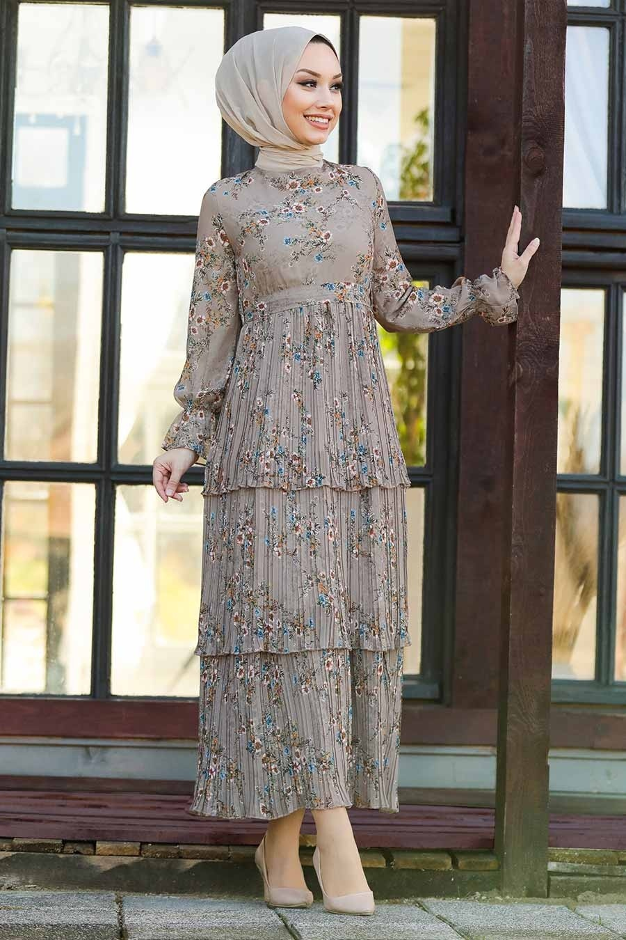 Neva Style - Çiçek Desenli Vizon Tesettür Elbise 8140V
