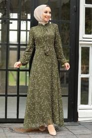 Neva Style - Çiçek Desenli Yeşil Tesettür Elbise 27902Y - Thumbnail