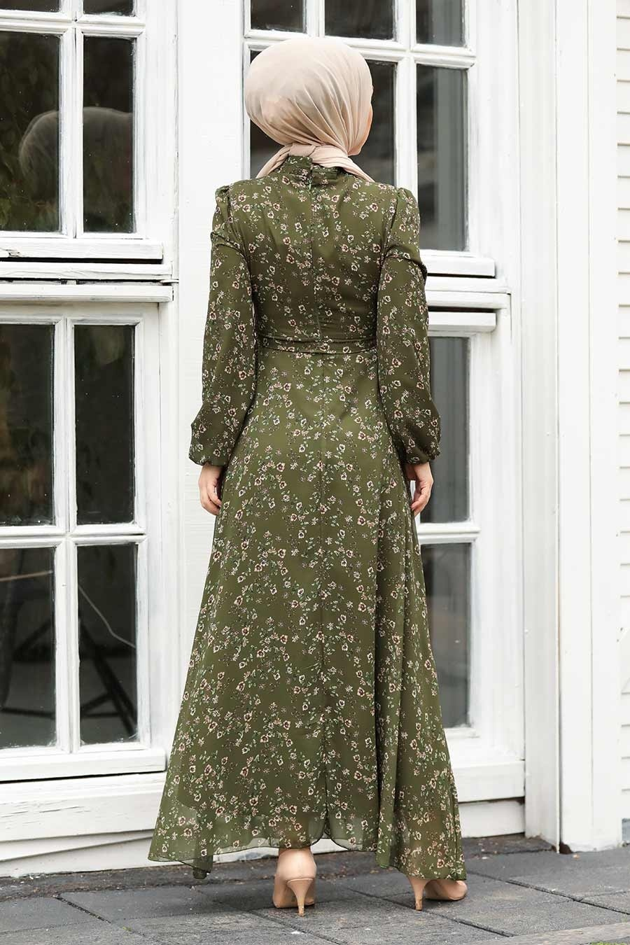 Neva Style - Çiçek Desenli Yeşil Tesettür Elbise 27902Y