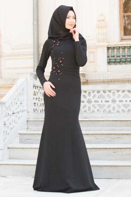 Neva Style - Çiçek İşlemeli Siyah Tesettür Abiye Elbise 10056S