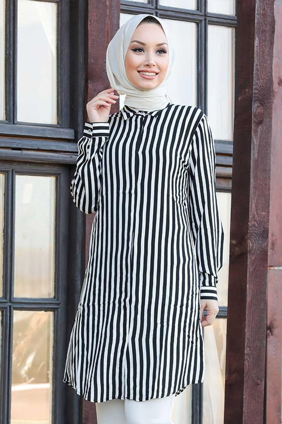 Neva Style - Çizgili Siyah Tesettür Tunik 11530S