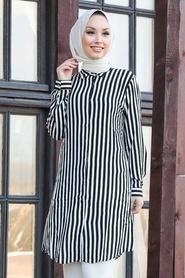 Neva Style - Çizgili Siyah Tesettür Tunik 11530S - Thumbnail