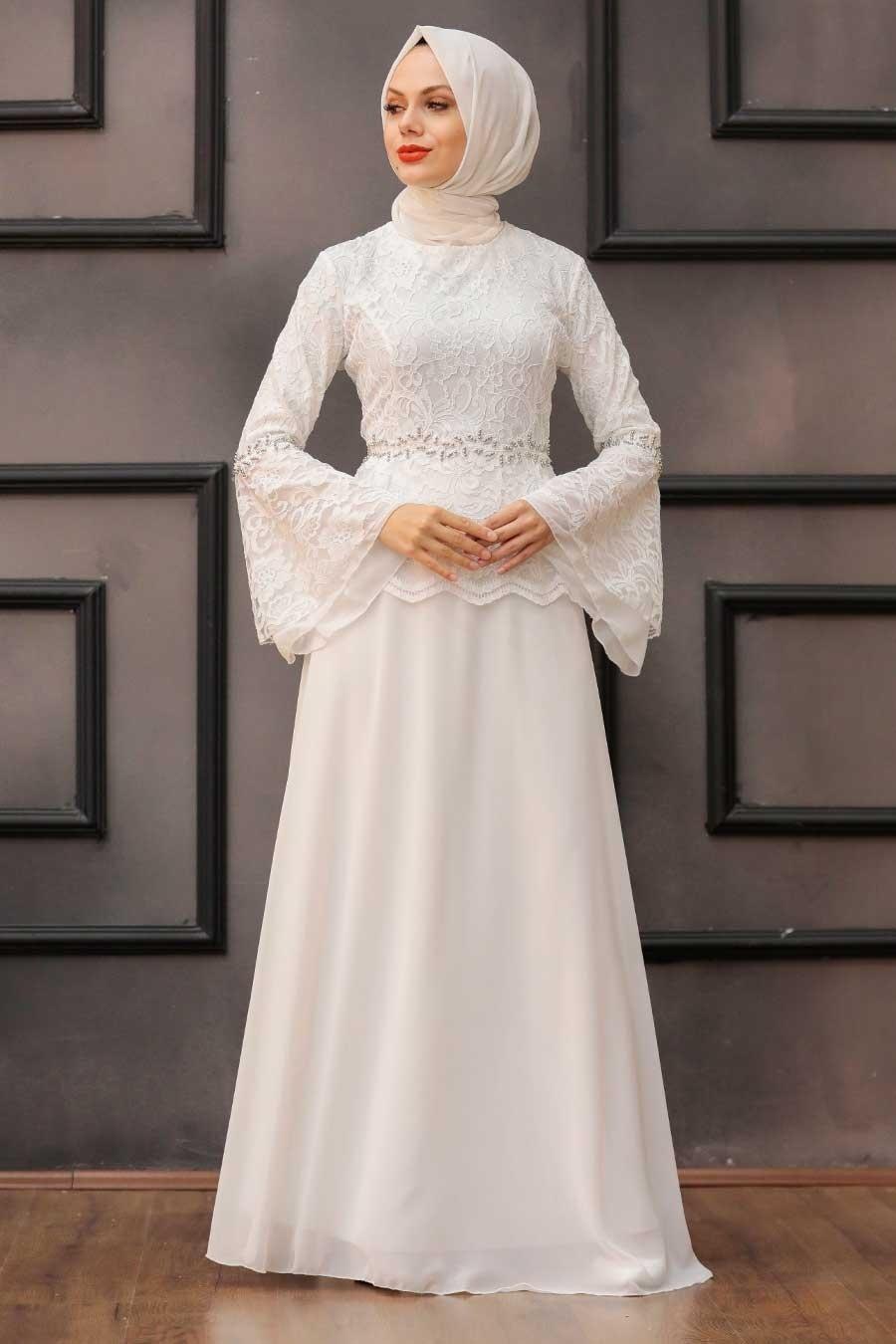 Neva Style - Dantelli Beyaz Tesettür Abiye Elbise 20671B