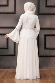 Neva Style - Dantelli Beyaz Tesettür Abiye Elbise 20671B - Thumbnail