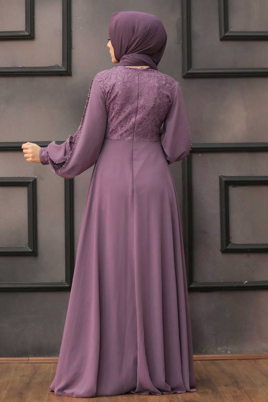 Neva Style - Dantelli Gül Kurusu Tesettür Abiye Elbise 50060GK