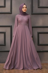 Neva Style - Dantelli Gül Kurusu Tesettür Abiye Elbise 50060GK - Thumbnail