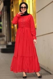 Neva Style - Dantelli Kırmızı Tesettür Elbise 44690K - Thumbnail