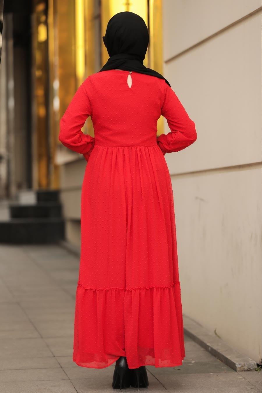 Neva Style - Dantelli Kırmızı Tesettür Elbise 44690K