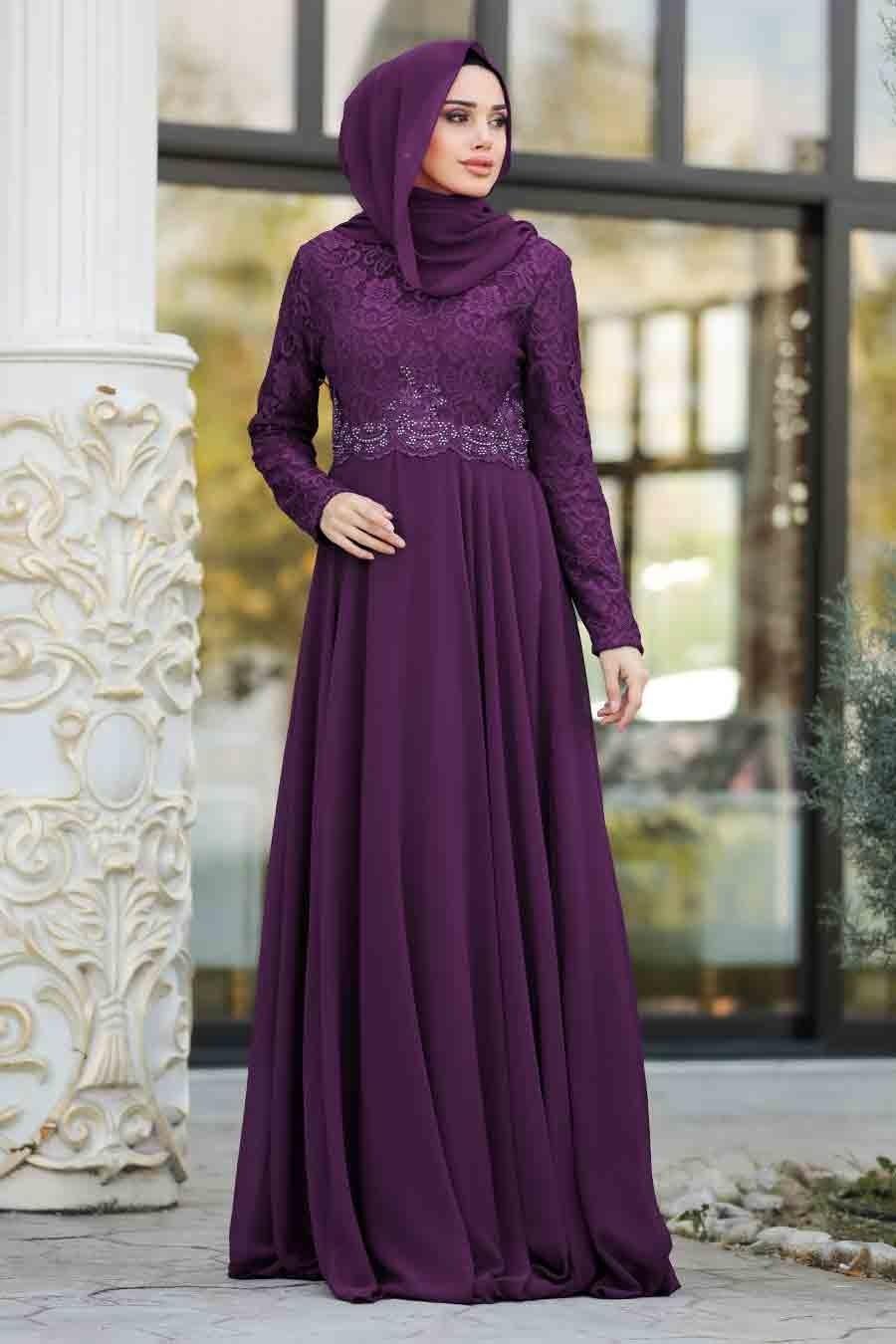 Neva Style - Dantelli Mor Tesettür Abiye Elbise 9116MOR