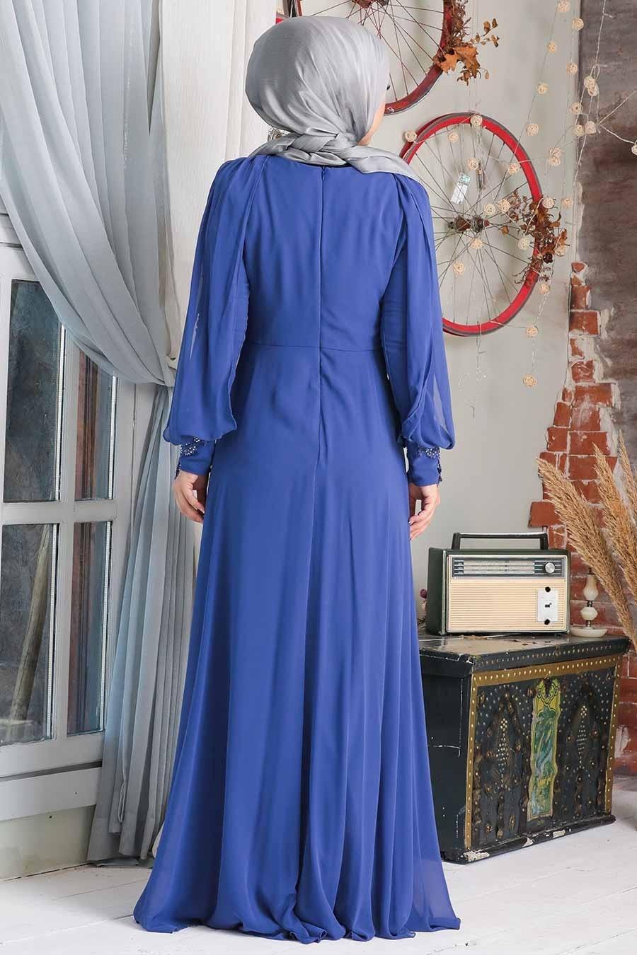 Neva Style - Dantelli Sax Mavisi Tesettür Abiye Elbise 20730SX