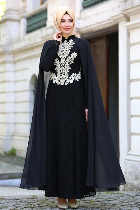 Neva Style - Dantelli Siyah Tesettür Abiye Elbise 52598S