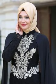 Neva Style - Dantelli Siyah Tesettür Abiye Elbise 52598S - Thumbnail