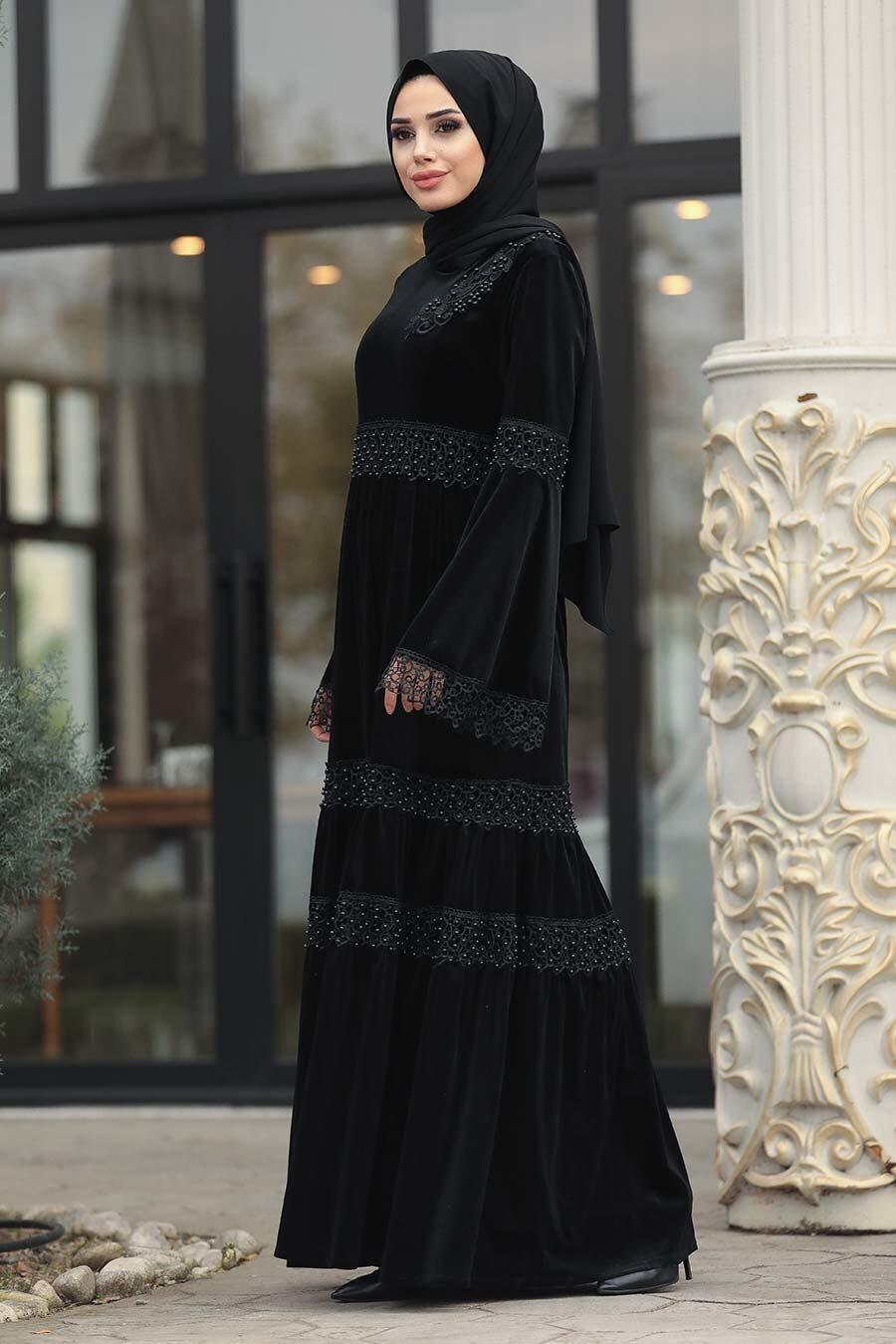 Neva Style - Dantelli Siyah Tesettür Kadife Elbise 1460S