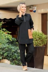 Neva Style - Deri Detaylı Siyah Tesettür İkili Takım 1301S - Thumbnail