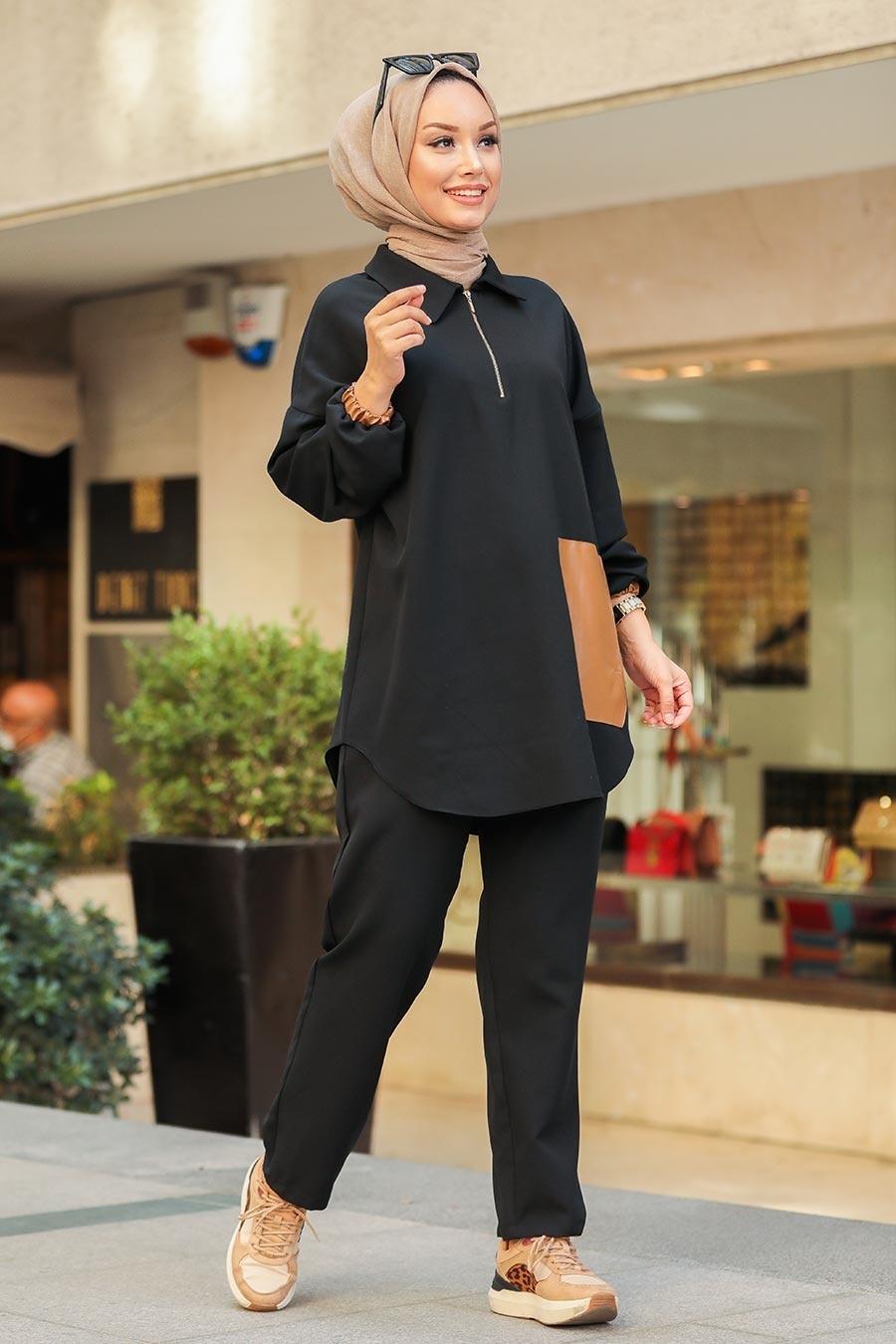 Neva Style - Deri Detaylı Siyah Tesettür İkili Takım 1301S