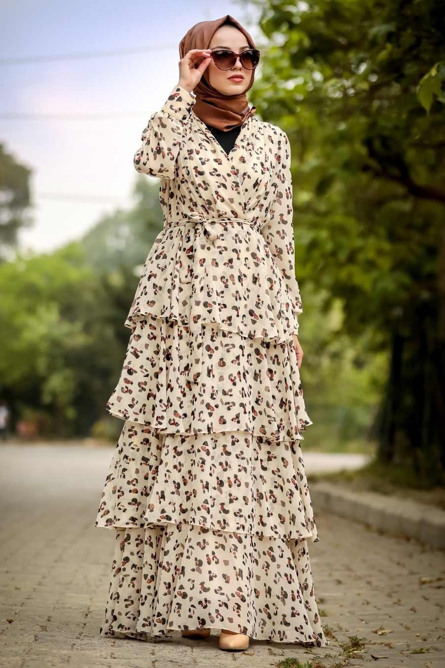 Neva Style - Desenli Bej Tesettür Elbise 22692BEJ