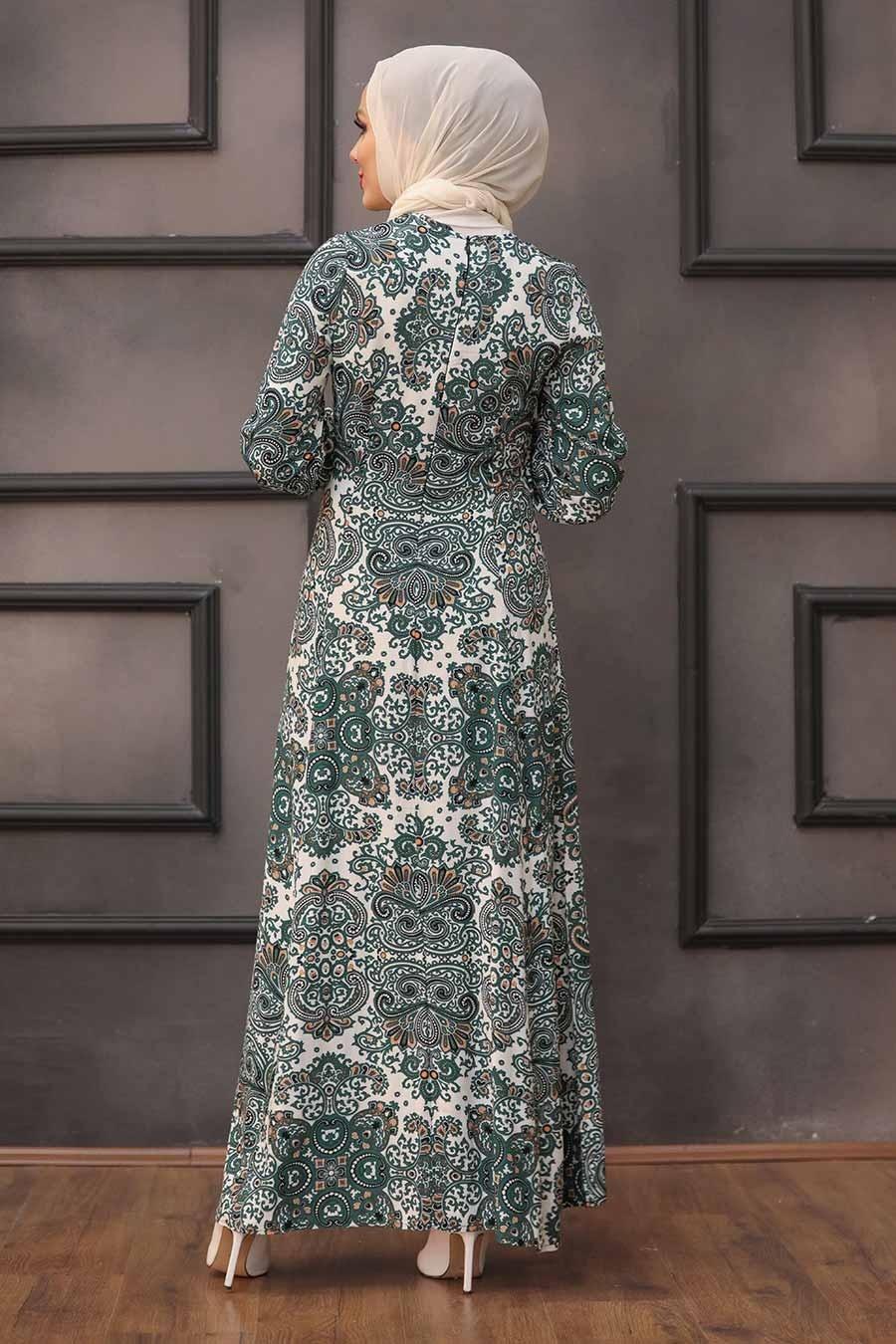 Neva Style - Desenli Çağla Yeşili Tesettür Elbise 27615CY