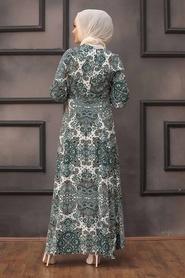 Neva Style - Desenli Çağla Yeşili Tesettür Elbise 27615CY - Thumbnail