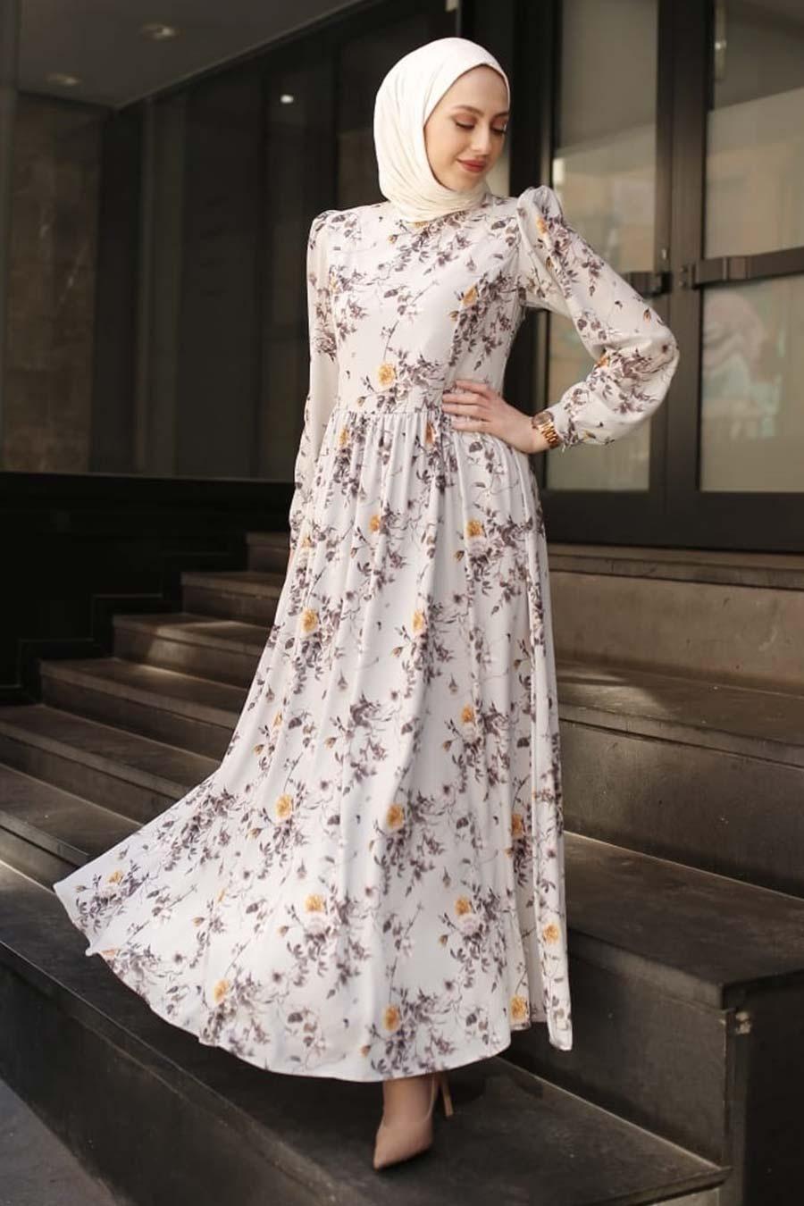 Neva Style - Desenli Gri Tesettür Elbise 3272GR