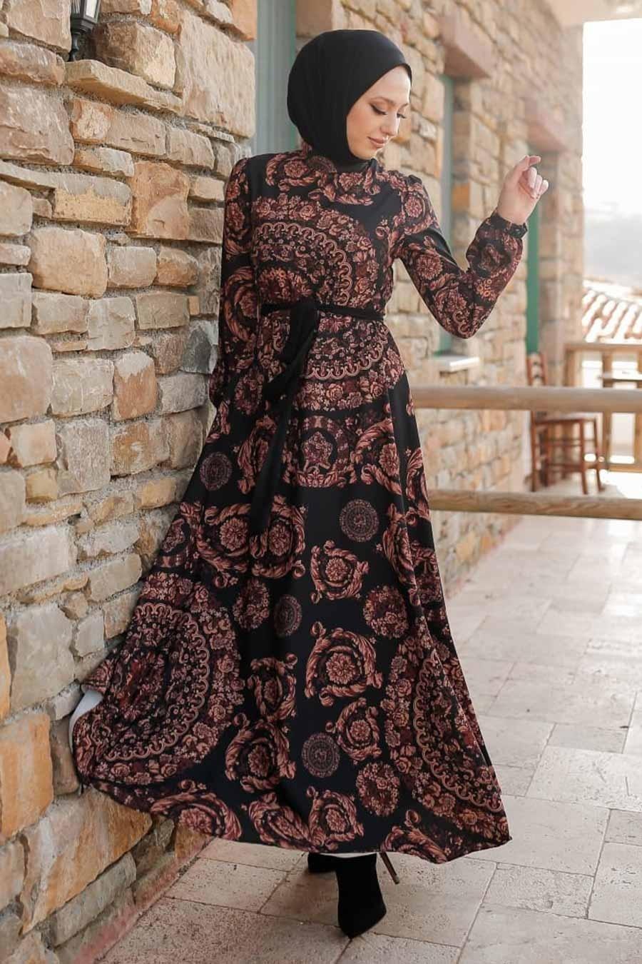 Neva Style - Desenli Kiremit Tesettür Elbise 3377KRMT