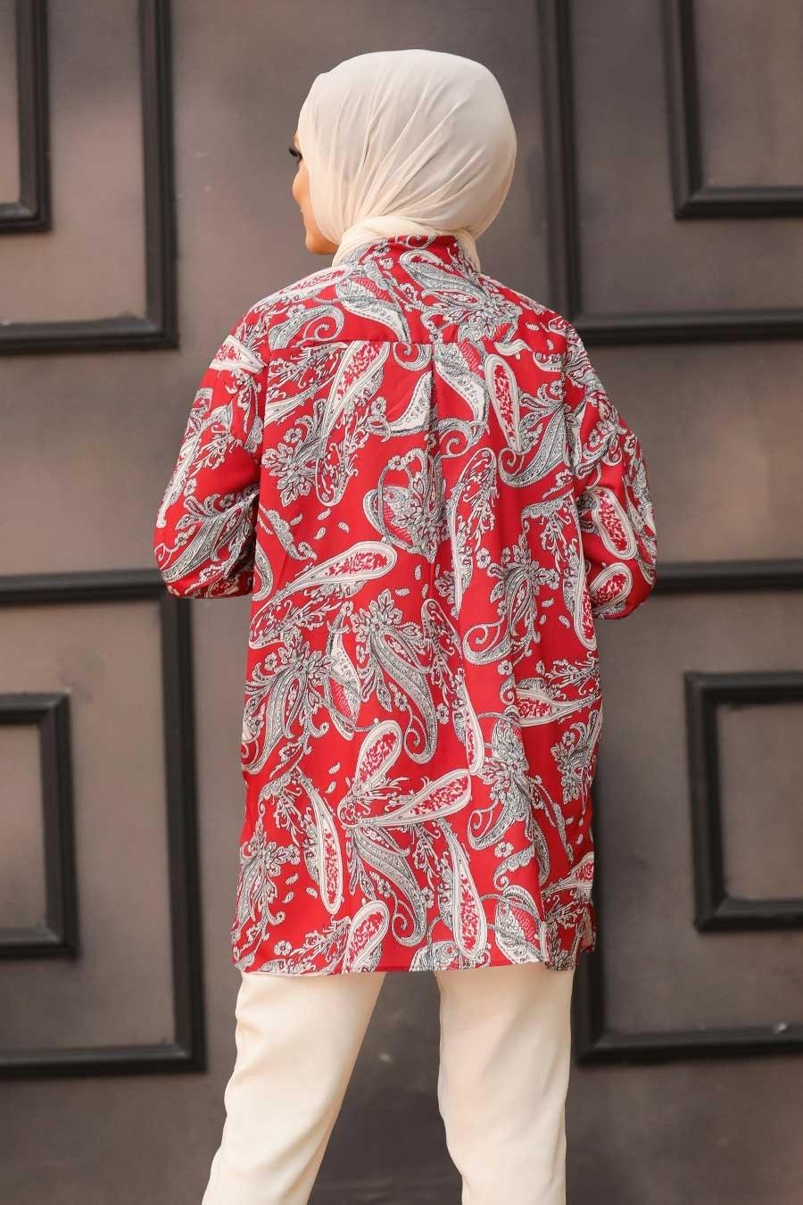 Neva Style - Desenli Kırmızı Tesettür Tunik 2732K