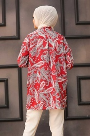 Neva Style - Desenli Kırmızı Tesettür Tunik 2732K - Thumbnail
