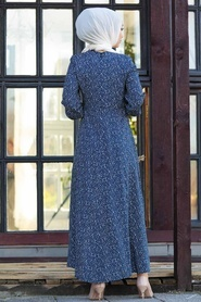 Neva Style - Desenli Lacivert Tesettür Elbise 27614L - Thumbnail