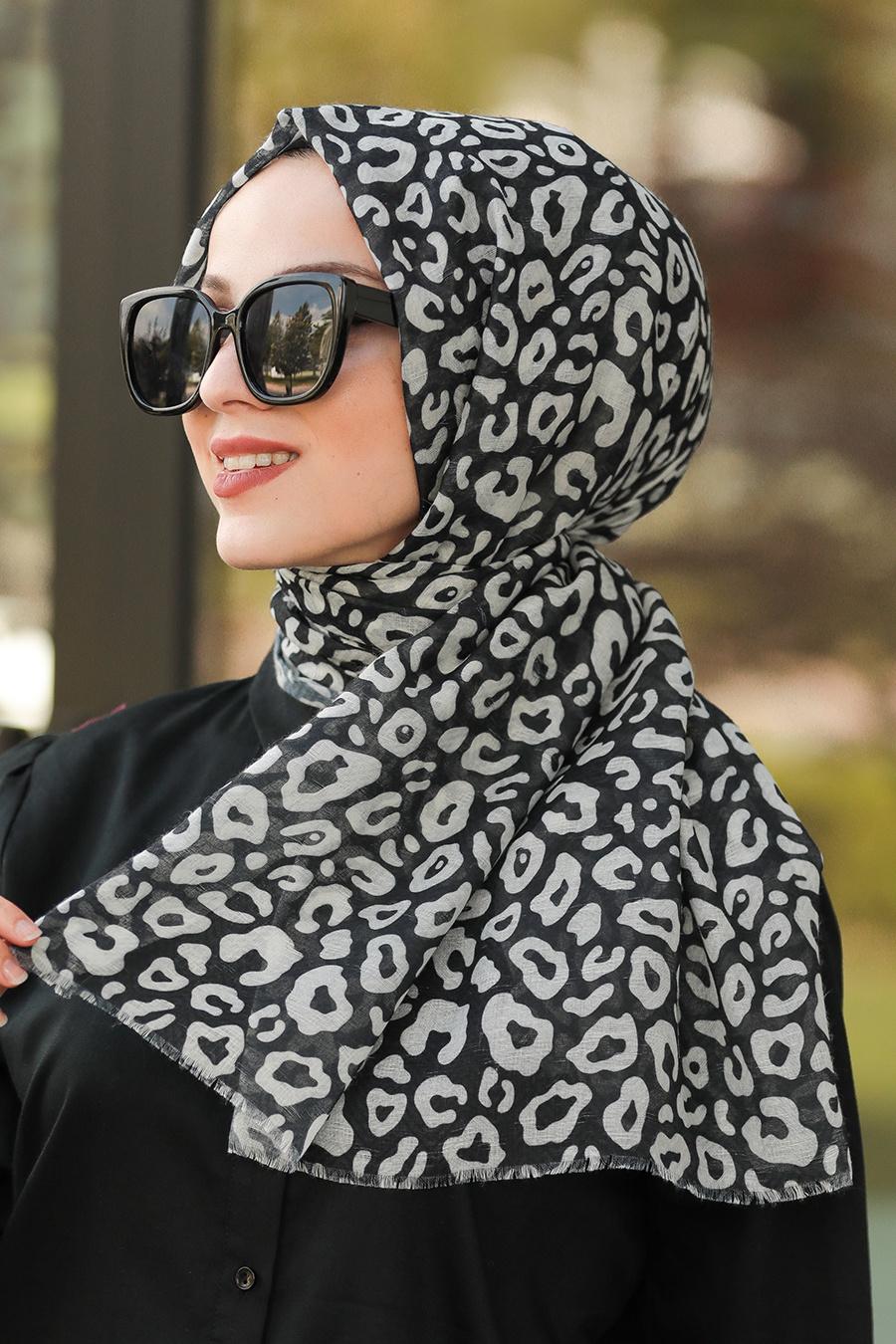Neva Style - Desenli Siyah Şal 7556S