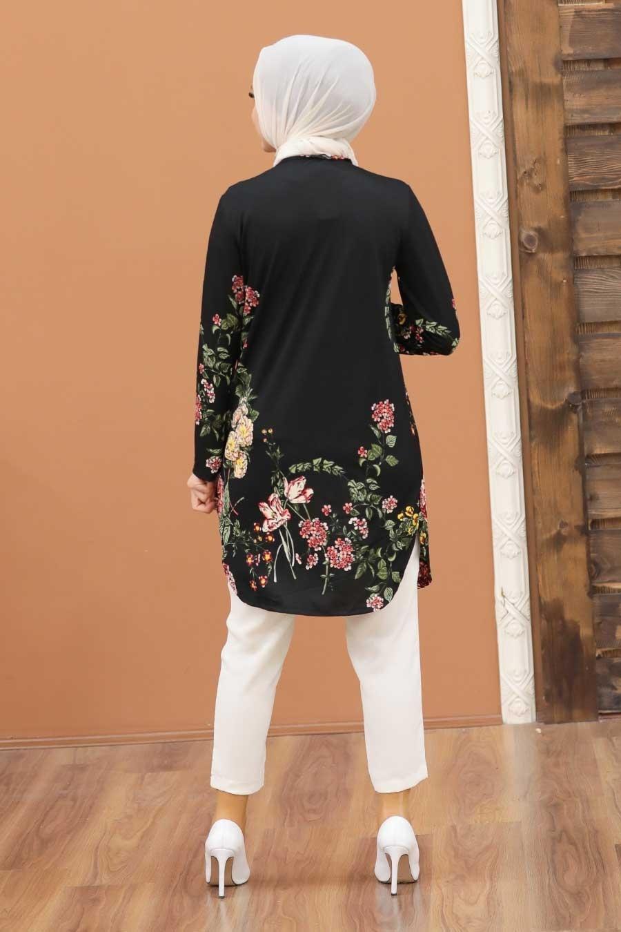 Neva Style - Desenli Siyah Tesettür Tunik 35816S
