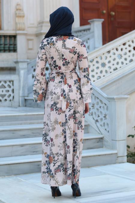 Neva Style - Desenli Volan Kol Pudra Tesettür Elbise 100160PD