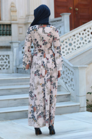 Neva Style - Desenli Volan Kol Pudra Tesettür Elbise 100160PD - Thumbnail