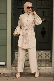 Neva Style - Düğme Detaylı Bej Tesettür İkili Takım 51920BEJ - Thumbnail