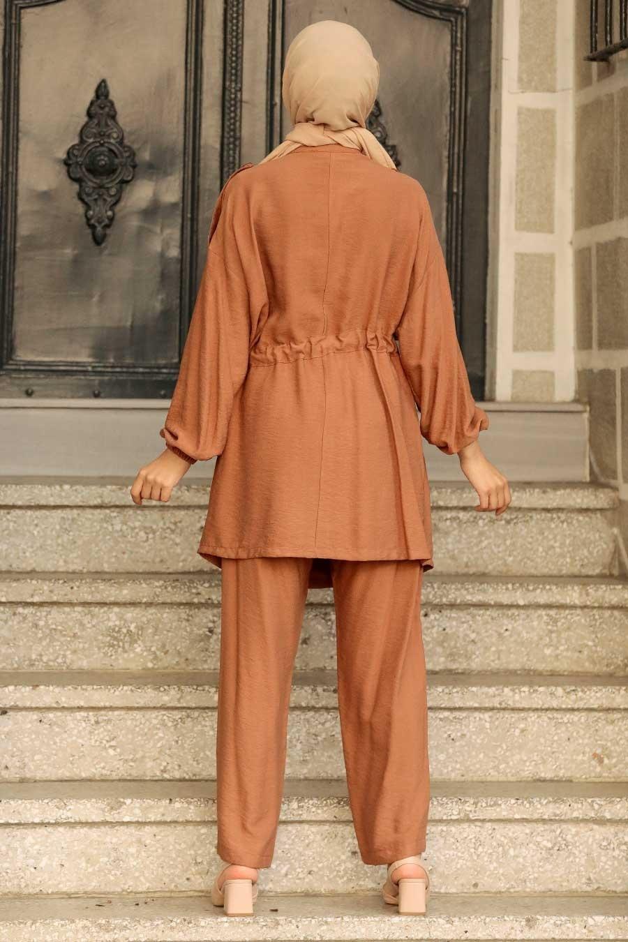 Neva Style - Düğme Detaylı Camel Tesettür İkili Takım 51920C