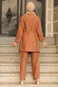 Neva Style - Düğme Detaylı Camel Tesettür İkili Takım 51920C - Thumbnail